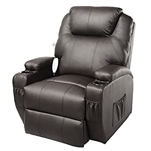 Fds Leather Massage Recliner Sofa Chair Swivel Heated Cinema Nursing Armchair Brown