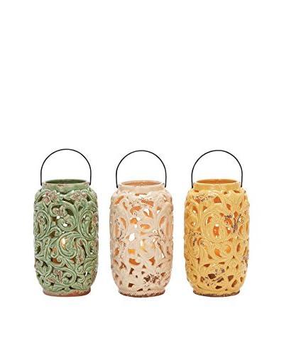 Set Of 3 Ceramic Lantern, Multi
