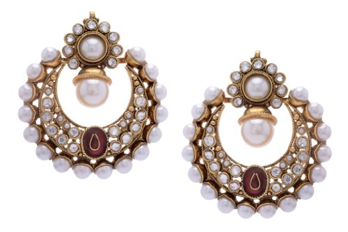Hyderabad Jewels Fashion Earring Round shaped with Semi precious White stones -ATGOL1229 (multicolor)