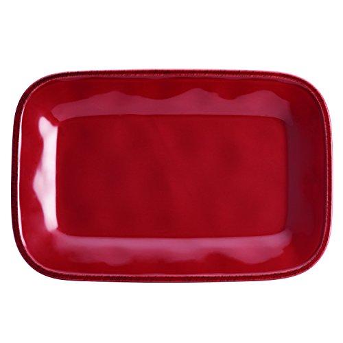 Rachael Ray Cucina Dinnerware Stoneware Rectangular Platter, 8-Inch by 12-Inch, Cranberry Red