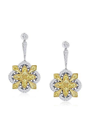 Bouquet 1 Carat TW Fancy Intense Yellow/White Diamond 18K Gold Earrings