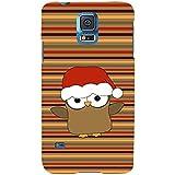 For Samsung Galaxy S5 Neo :: Samsung Galaxy S5 Neo G903F :: Samsung Galaxy S5 Neo G903W Funny Cartoon Santa Bird ( Funny Cartoon Santa Bird, Santa Bird, Multiple Pattern, Bird, Cartoon, Stripes ) Printed Designer Back Case Cover By FashionCops