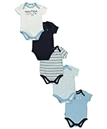 Nautica Baby Boys\' Newborn Five-Pack Bodysuits,Assorted Light Blue, 3-6 Months