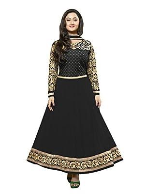 Vibes Women Georgette Patch Work Unstitched Salwar Kameez Dress Material (V20-21005 _Black _Free Size)