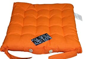 Homescapes seat pad orange 40 x 40 cm indoor garden dining chair cushion with a - Orange kitchen chair cushions ...