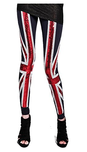 British Union Jack Flag Beaded Sequined Stretch Cotton Leggings Pants Tights
