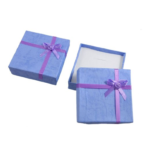 Rosallini 2 Boxes Bowtie Embellished Gift Cases Present Boxes Necklace Holder Lavender Picture