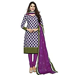 Stylish Girls Women Cotton Printed Unstitched Dress Material (SG207_purple_Free size)