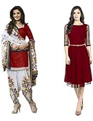 Sky Global Women's Regular Wear Dress Material And Kurti (Combo Pack Of 2)(SKY_DK_9017)(SKY_556_Red)(SKY_7027_...