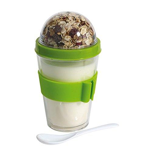 Tazze per cereali e yogurt, doppio comparto, cappuccio a vite, con cucchiaio verde e supporto