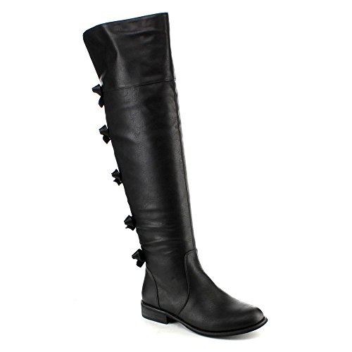 Yoki Kristen-02 Women'S Fashion Over The Knee High Pull On Riding Boots, Color:Black, Size:6