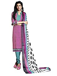 Women Icon Printed Suits in Poly Crepe Fabric & in attractive Pink & White Color WICDZL1011