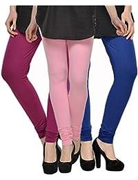 Kjaggs Women's Cotton Lycra Regular Fit Leggings Combo - Pack Of 3 (KTL-TP-18-19-14, Light Pink, Magneta, Royal...
