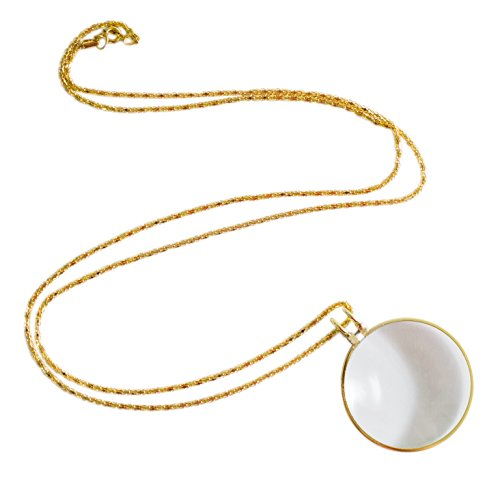 Necklace with 1-3/4 Inch Optical Magnifier Lens and 36-Inch Gold Chain