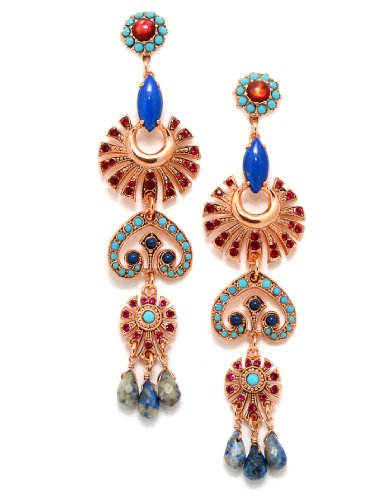 Amaro Jewelry Studio 'Indigo' Collection 24K Rose Gold Plated Stunning Dangle Earrings Decorated with Suspended Tear Drops, Abalone, Turquoise, Lapis Lazuli and Swarovski Crystals