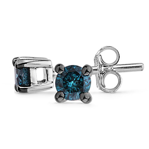 Platinum Plated Sterling Silver Blue Round Diamond Studs (1/6 cttw)