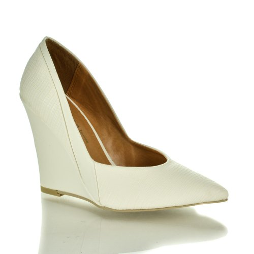 Chloe01 Off White Pu Pointed Toe Textured Office Dress High Wedge Heel Sandals-7.5 front-464750