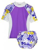 Tuga Girls Seaside S/S & Swim Diaper (UPF 50+), Morado, 3T
