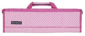 Messermeister 8 Pocket Knife Roll, Pink with White Polka Dots and Paisley Lining