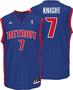 Brandon Knight Jersey: adidas Revolution 30 Blue Replica #7 Detroit Pistons Jersey by adidas