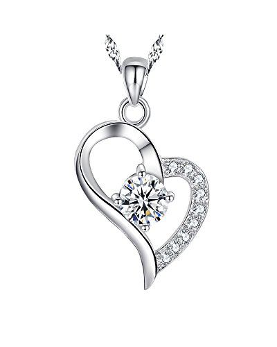 925 Sterling Silver with Diamond Pendant Love Heart Necklace for Women Girlfriend Daughter-I Love You To The Moon and Back (Heart Shape:white diamond)