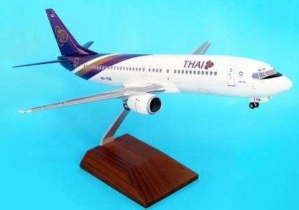 1: 100 スカイマークスSuprem Thai 航空 ボーイング 737-400 with Landing Gear and Wood Display Stand (並行輸入)