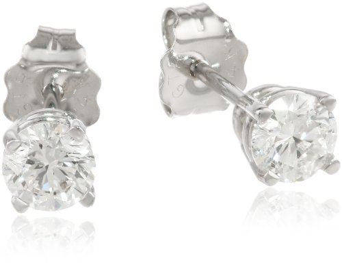 14K White Gold Round Diamond Stud Earrings (1/2 Cttw, H-I Color, I1-I2 Clarity)