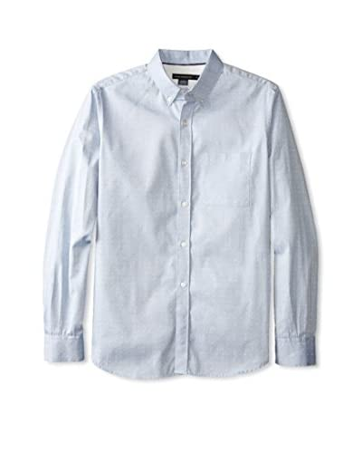 French Connection Men's Colorful Oxford Geo Long Sleeve Shirt