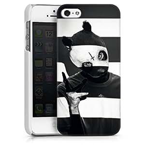 Apple iPhone 5 Case Hülle Cover Schutzhülle HardCase white - Cro - Crogestreift