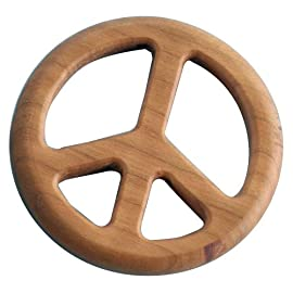 Rock Love Peace Cherry Wood Teether