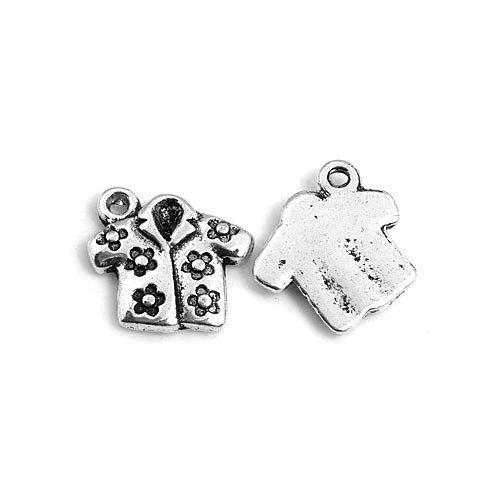Paket 10 x Antik Silber Tibetanische 16mm Charms Anhänger (Hawaii-Hemd) - (ZX00895) - Charming Beads