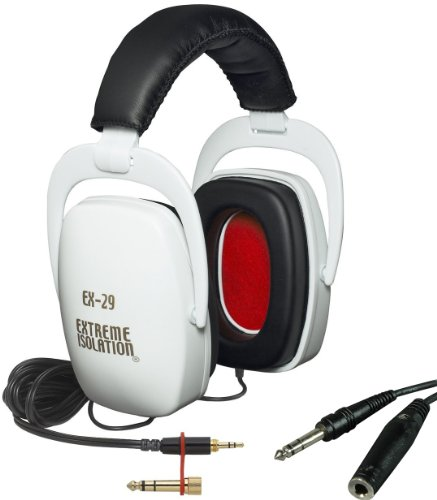 Direct Sound Ex-29 White Dynamic Closed Headphones W/Bag And Free Extension Cable
