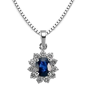 14k White Gold Blue Sapphire and Diamond Flower Pendant with Chain