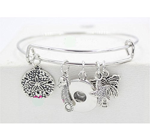 Brighton Bay Silver Sealife Starfish Seahorse Palm Wire Ginger Snap Charm Bracelet