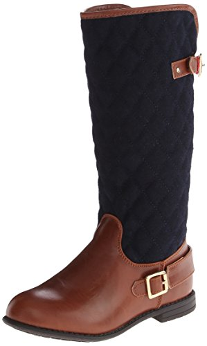 Tommy Hilfiger Kids Andrea Quilted Riding Boot (Toddler/Little Kid/Big Kid),Peacoat/Cognac,13 M US Little Kid