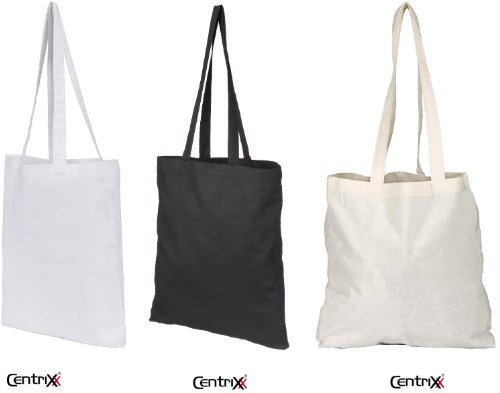 10 NATURAL COTTON TOTE BAGS SHOPPERS - 3 COLOURS