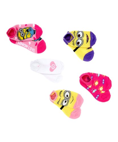 Despicable Me Minion Big Girls' No Show Socks 5 Pair