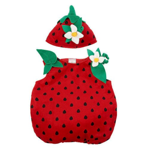 Koala Kids Infant Girls Plush Red Strawberry Costume Polka Dot Jumper & Hat