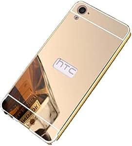 Novo Style Luxury Shiny Bling Glitter Metal Clear Aluminum Frame Cover Ultra Thin Slim Bumper Hard Back Case Cover For HTC 826 - Golden