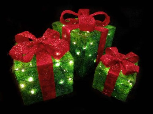 Set of 3 sparkling green sisal gift boxes lighted for Sisal decoration