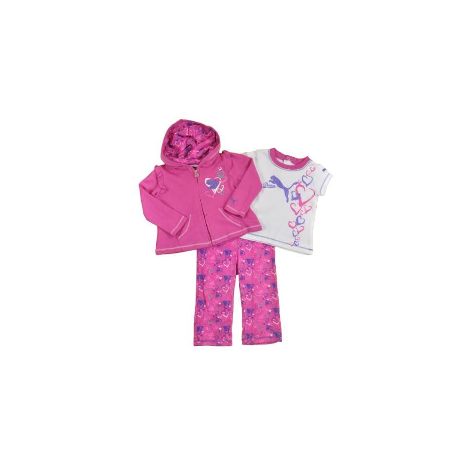 PUMA Baby girls Heart Bubbling Rose Pink Three Piece Pant Set