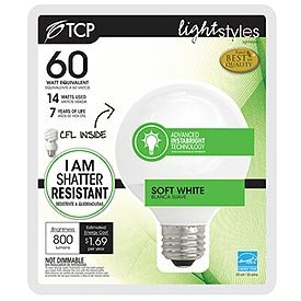 Tcp 69114A Cfl Instabright Armor G25 - 60 Watt Equivalent (Only 14W Used) Soft White (2700K) Decorative Globe Light Bulb