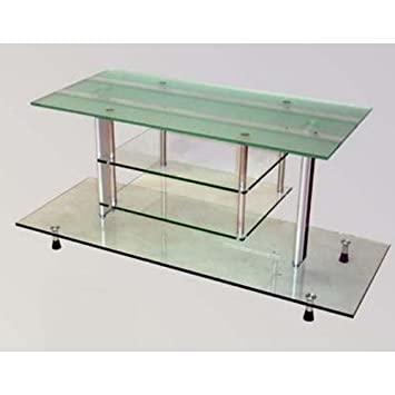 Chintaly Imports 67028-TV-B-T Glass TV Stand