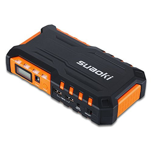 Suaoki G7 600A 18000mAh Peak Portable Car Jump Starter Battery Booster Charger with LCD Screen Smart Jump Start Clamp Multiple Built-in Flashlight for SLR Laptop Cell Phone Tablet - Orange
