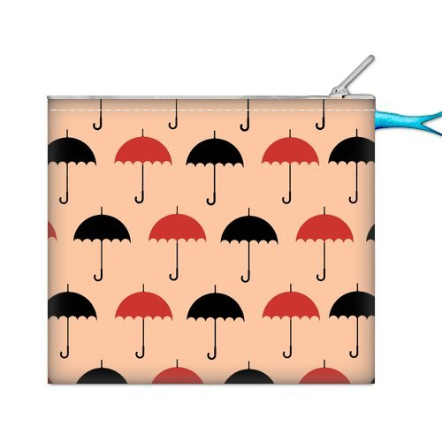 Anhome Cartoon Little Red And Black Umbrella Pink Background Custom Nylon Oxford Purse front-1048446