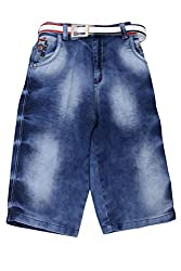 Titrit Blue Solid Denim Capri for Boys
