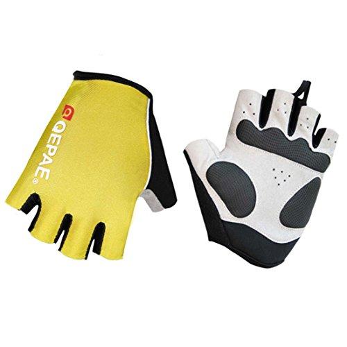 Lerway MTB Half Finger Fingerless Short Bicycle Bike Cycling Gloves (Yellow, M)
