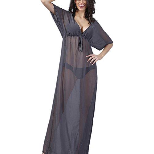 YOKIRIN Vestiti Mare Donne Trasparente Lunghe Abito Mare Coprire Bikini (Merletto Della Stampa Jeans)