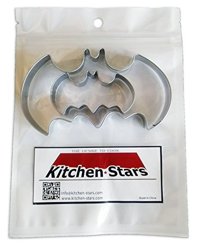 Batman Cookie Cutter Shapes, By Kitchen Stars, in Recyclable Ziplock Bag, Food Grade Stainless Steel, Set of 2 Sizes.