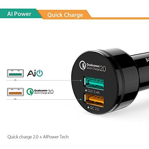 AUKEY-Quick-Charge-20-Cargador-del-Coche-30W-2-Puertos-con-AiPower-Tecnologa-para-iPhone-HTC-Sony-iPad-y-ms